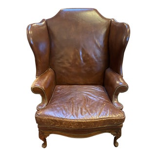 Vintage Leather Nailhead Regal Bayles Brand Custom Wing Back Chair For Sale