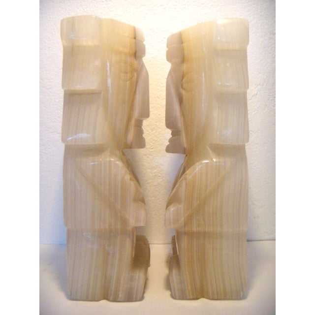 Mid 20th Century Vintage Pair of Onyx Stone Bookends, Statues or Figures For Sale - Image 5 of 7