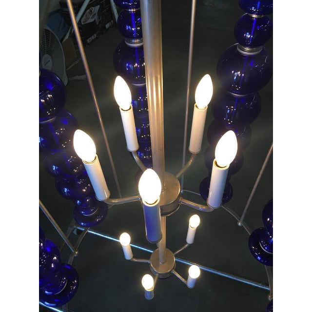 Metal Modern Stacked Cobalt Glass Chandelier W/ Nickel Finish For Sale - Image 7 of 7