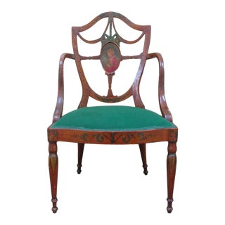 Antique Painted Hepplewhite Armchair-Circa 1900 For Sale