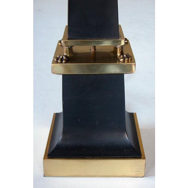 Art Deco A Sleek French 1940's Black Painted Tole Obelisk-Form Lamp For Sale - Image 3 of 4
