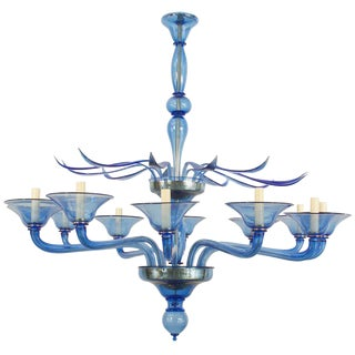 1940s Style Italian Venetian Murano Modern Blue Glass Chandelier For Sale