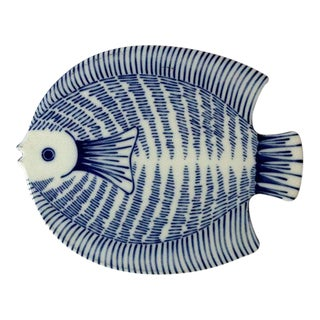 Vintage Fitz & Floyd Blue & White Ceramic Fish Trivet For Sale