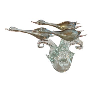 1970s Pino Signoretto Flying Geese Murano Glass Figurine For Sale