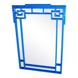 Image of Greek Key Vintage Newly Lacquered French Blue Faux Bamboo Wall Mirror Chinoiserie For Sale