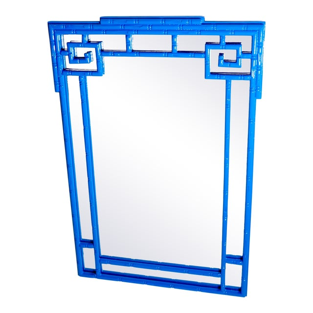 Greek Key Vintage Newly Lacquered French Blue Faux Bamboo Wall Mirror Chinoiserie For Sale