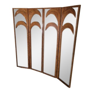 Vintage Rattan Palm Tree Mirror Room Dividers - Set of 4