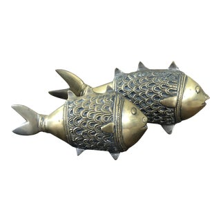 1960s Vintage Contemporary Whimsical Sand Cast Brass Fish - a Pair For Sale