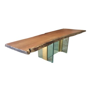 Red Oak Raw Edge & Glass Coffee Table