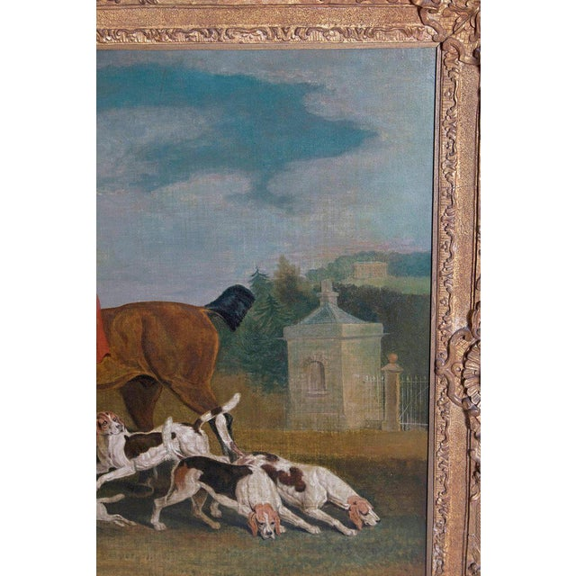 19th Century Oil on Canvas English Hunting Scene of Rider on Horse With Hounds For Sale - Image 10 of 13
