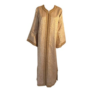 Moroccan Caftan in Gold Bronze Metallic Brocade Maxi Gown Dress Kaftan For Sale