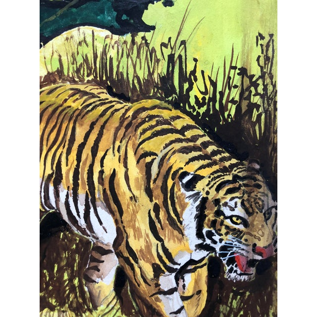 "Green 1960s Signed Gouache Painting ""Tiger Hunt"" For Sale - Image 8 of 9"