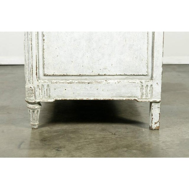 French Louis XVI Period Painted Faux Marble Top Commode Chest of Drawers For Sale - Image 9 of 10