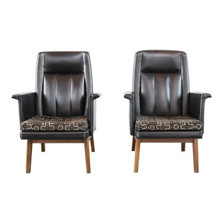 Boling Black Leather and Mud Cloth Chairs - a Pair