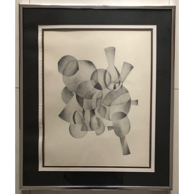 1970s 1970s Abstract Drawing on Paper of Overlapping Shapes by Carol Caciolo For Sale - Image 5 of 7