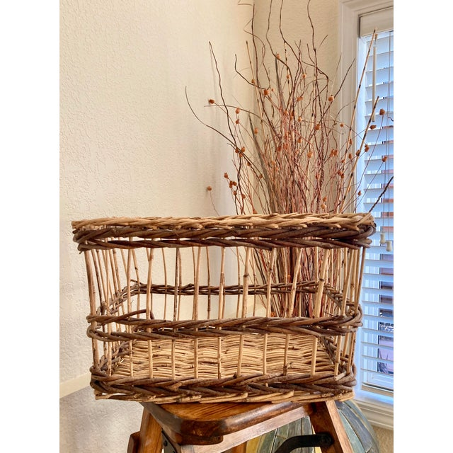 Crisscross Open Weave Handwoven Rattan & Willow Basket by Three Hands - Circa 1990 For Sale - Image 12 of 13