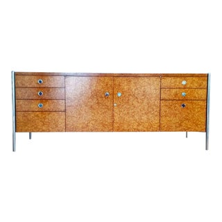 Ward Bennett Burled Olive and Chrome Credenza For Sale