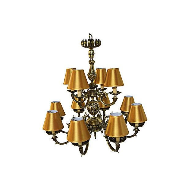 12 Arm Dutch Brass Chandelier - Image 4 of 9