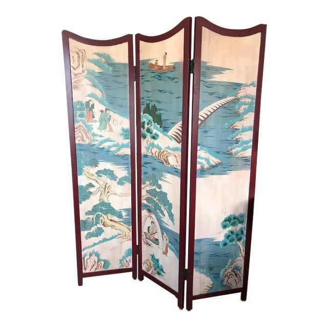 1960s Asian 3-Panel Screen For Sale - Image 11 of 11