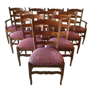 French Country Henredon Oak Kitchen Dining Chairs - Set of 10 For Sale