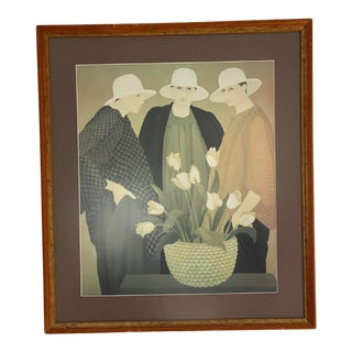 "1990s ""Three Women with Tulips"" Figurative Print, Framed For Sale"