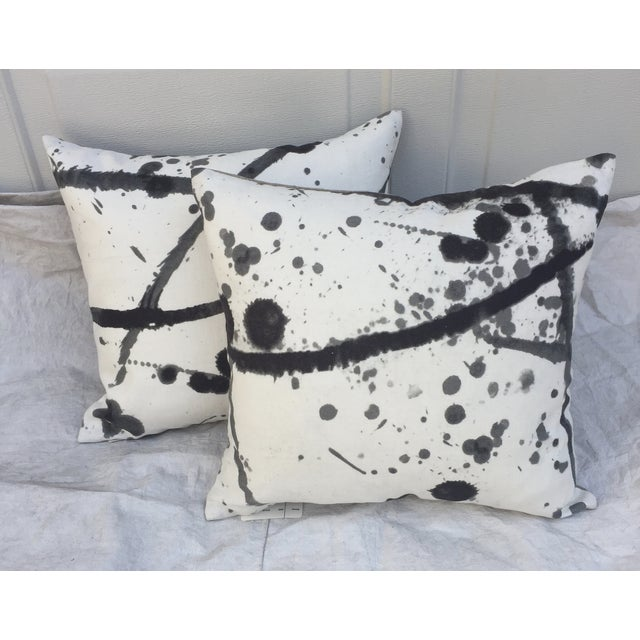 "Pair of custom made pillows made with a black & white Pierre Frey ""Leo"" linen/cotton textile with Jackson Pollack inspired..."