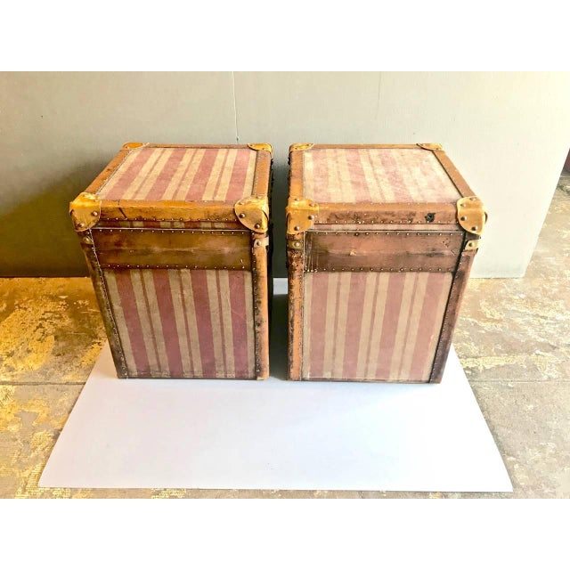 Animal Skin Pair of French Canvas and Leather Hat Trunks, Late 19th Century For Sale - Image 7 of 10