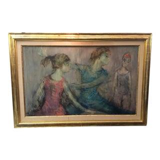 "1960s Vintage Edna Hibel ""The Ballerinas"" Original Painting For Sale"