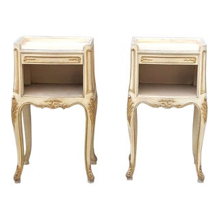 Pair Antique Italian Louis XV Hand Painted Nightstands For Sale