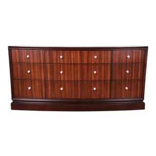 Ethan Allen Modern Walnut Triple Dresser or Credenza For Sale