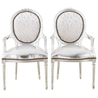 Pair of French Louis XVI Style Silver Leaf Metallic Armchairs For Sale