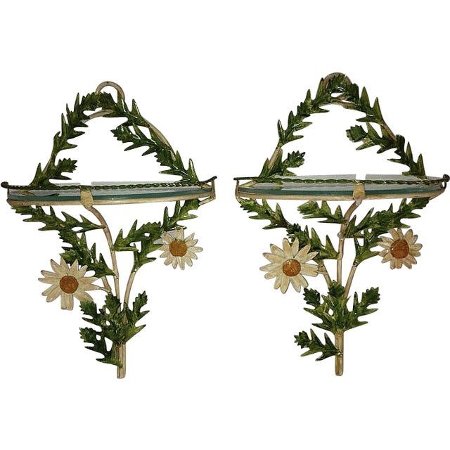 Tole Daisy Sconce Wall Shelves - Pair - Image 1 of 5