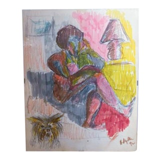 Study of a Room - Drawing - a Woman and Her Dog, Signed For Sale