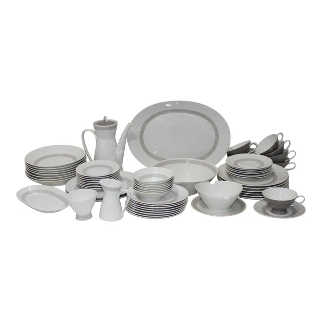 """Mid-Century Modern Rosenthal """"Athenia"""" Dinner Service for 8 Plus Serving Pieces - 63 Items Total For Sale"""