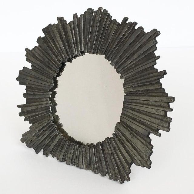 1970s Brutalist Starburst Pewter Frame or Mirror For Sale - Image 5 of 9