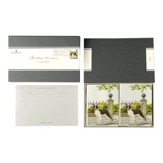 """Boston Terrier"" Boxed Stationery - Folded Cards - Set of 10 For Sale"