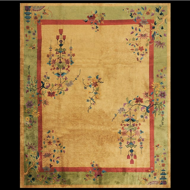 Goldenrod Chinese Art Deco Rug For Sale - Image 8 of 8