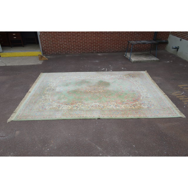 "1990s Karastan Soft Green Kirman 8'7"" X 12'9"" Room Size Rug For Sale - Image 5 of 12"