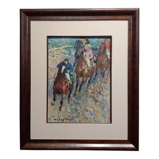 """1960s Vintage """"Rounding the Turn, Horse Race"""" Oil Painting by Denes De Holesch For Sale"""