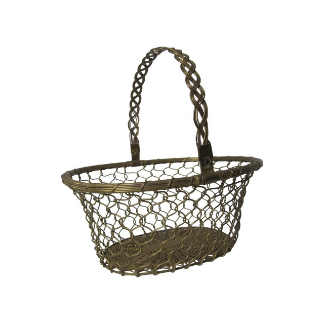 Brass Woven Basket For Sale