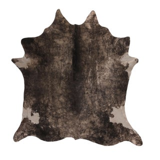 Contemporary Gray and White Large Leather Cowhide Rug For Sale
