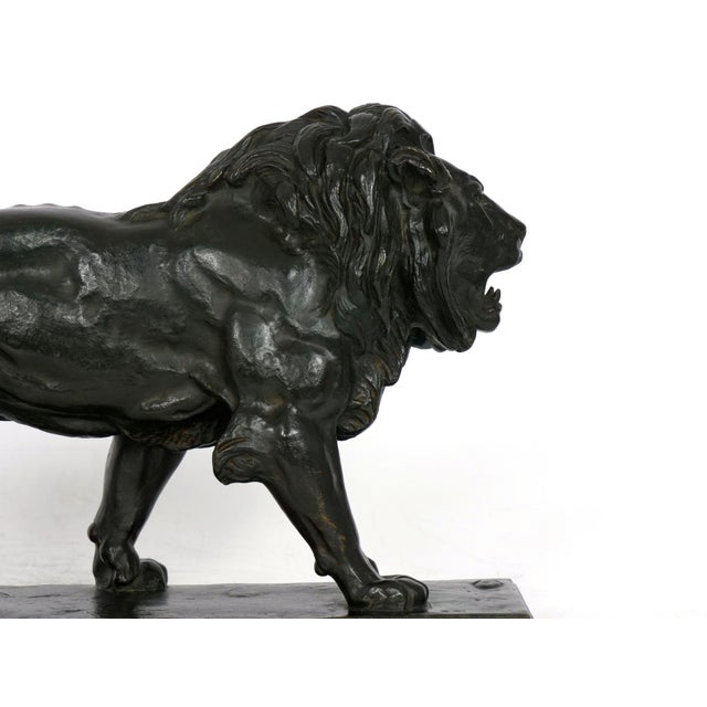 """Lion Marchant"" Antique French Bronze Sculpture by Antoine-Louis Barye, Barbedienne For Sale - Image 9 of 13"