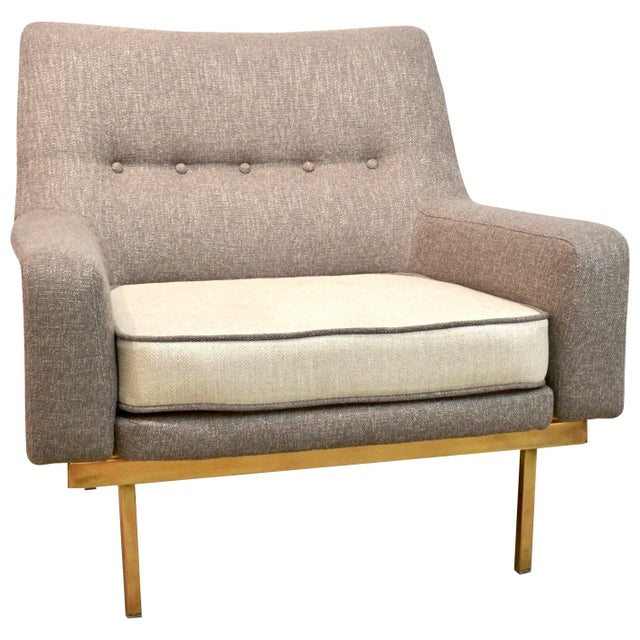 1970s Arflex Italian Brass Base Two-Tone Pepper Cream and Taupe Gray Armchair For Sale - Image 13 of 13