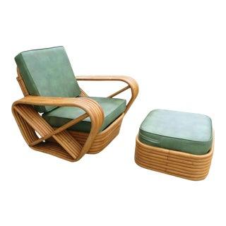 Paul Frankl Style Six-Strand Square Pretzel Rattan Lounge W/ Ottoman Unrestored For Sale