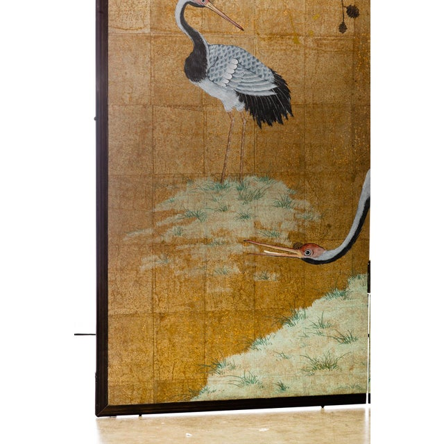 """Lawrence & Scott Japanese Style 2-Panel """"Cranes at Rest"""" Hand-Painted Gold Foil Screen by Lawrence & Scott For Sale - Image 4 of 11"""