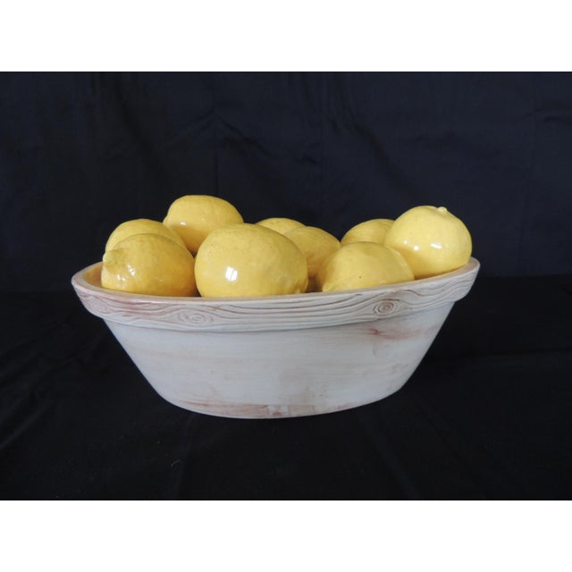 Trompe-L'oeil Lemons inside Faux Wooden porcelain Basket. Italian yellow lemons inside basket (real lemon size) Stamped:...
