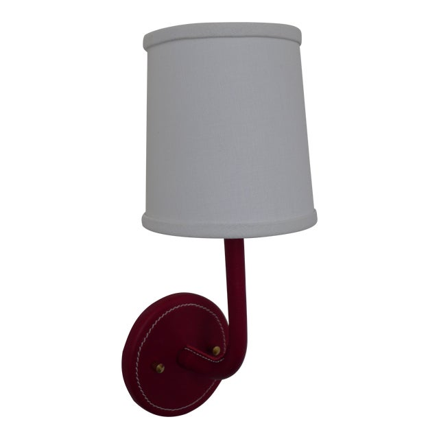 Paul Marra Top-Stitched Leather Wrapped Sconce in Red For Sale