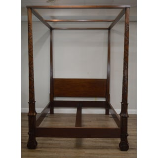 Baker Carved Mahogany Queen Size Canopy Poster Bed Preview