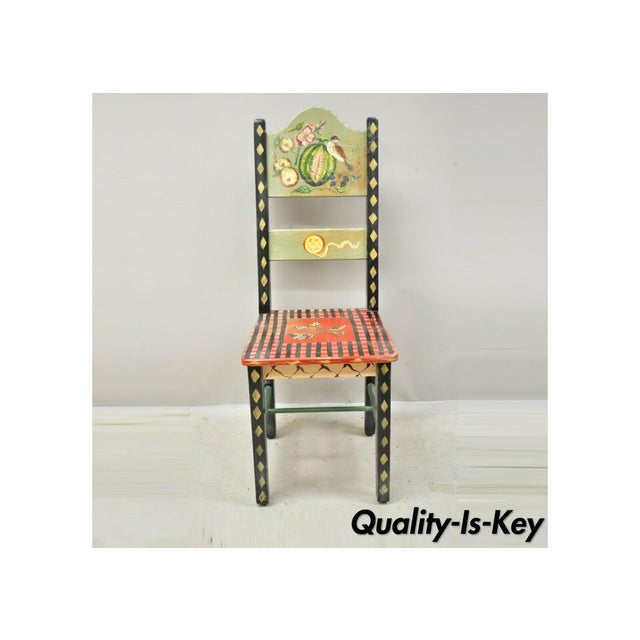 Late 20th Century French Country Style Handpainted Fruit Bird Butterfly Side Chair For Sale - Image 11 of 11