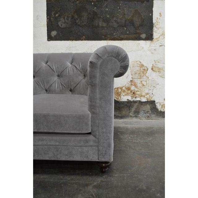 Modern Velvet Chesterfield Sofas- A Pair For Sale In Atlanta - Image 6 of 7